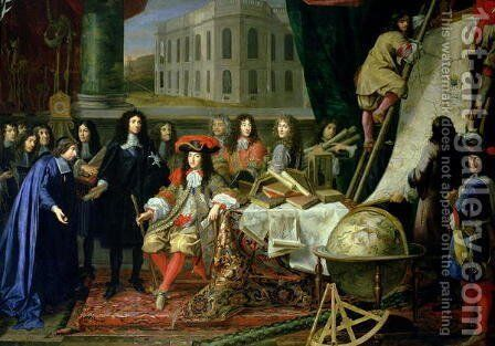 Jean-Baptiste Colbert 1619-83 Presenting the Members of the Royal Academy of Science to Louis XIV 1638-1715 c.1667 by Henri Testelin - Reproduction Oil Painting