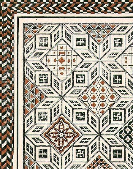 Design of a mosaic pavement discovered at Nimes, probably 2nd or 3rd century, pub. by Day & Son by (after) Texier, Charles Felix Marie - Reproduction Oil Painting