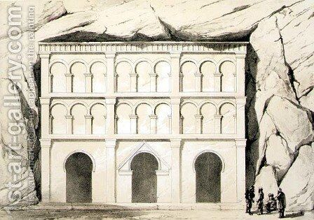 View of the grotto at Urgub demonstrating that the horseshoe arch is of Byzantine rather than Muslim origin, pub. by Day & Son by (after) Texier, Charles Felix Marie - Reproduction Oil Painting