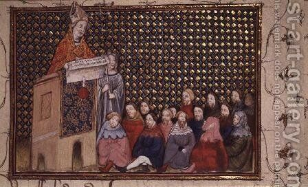 Harl 1319 f.12 Archbishop Arundel preaching in the cause of Henry, from the Histoire du Roy dAngleterre, Richard II by Master The Virgil - Reproduction Oil Painting