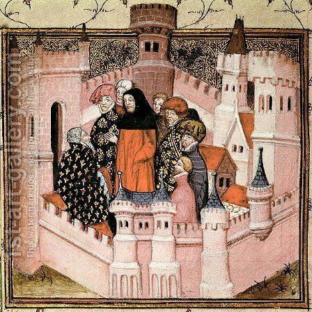 Harl 1319 f.37v Richard II receiving the Earl of Northumberland at Conway, from the Histoire du Roy dAngleterre, Richard II by Master The Virgil - Reproduction Oil Painting