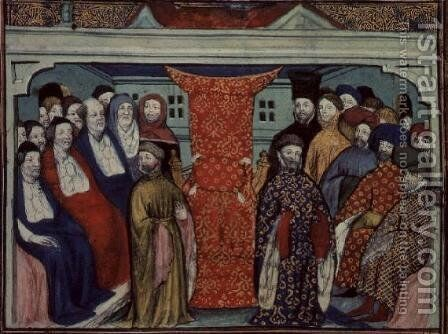 Harl 1319 f.57 The Parliament at Westminster deposes Richard II and proclaims the Duke of Lancaster King Henry IV, from the Histoire du Roy dAngleterre, Richard II by Master The Virgil - Reproduction Oil Painting