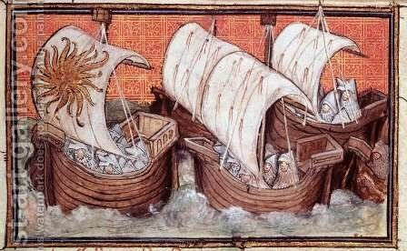 Harl 1319 f.18 The Fleet of Richard II departs from Ireland, Histoire du Roy dAngleterre, Richard II by Master The Virgil - Reproduction Oil Painting