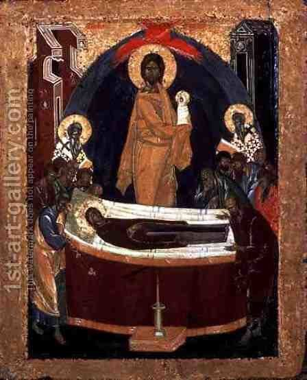 The Dormition, c.1392 by the Greek Theophanes - Reproduction Oil Painting