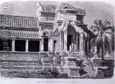 A Peristyle in the Gallery of Bas-Reliefs, Angkor Wat, engraved by Charles Laplante (d.1903) book illustration from A Journey of Exploration in Indo-China, pub. c.1873 by (after) Therond, Emile Theodore - Reproduction Oil Painting