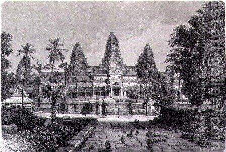 Main facade of Angkor Wat, book illustration from A Journey of Exploration in Indo-China, pub. c.1873 by (after) Therond, Emile Theodore - Reproduction Oil Painting