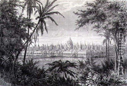 Angkor Thom showing the restoration of the Monument with Fifty Four Towers or Baion, engraved by J. Gauchard, book illustration from A Journey of Exploration in Indo-China, pub. c.1873 by (after) Therond, Emile Theodore - Reproduction Oil Painting
