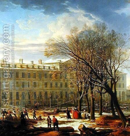 Figures Felling Trees Outside a Building in Paris by Charles Thevenin - Reproduction Oil Painting