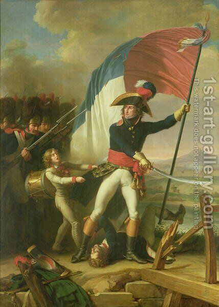 General Augereau 1757-1816 on the Bridge at the Battle of Arcola on the 15th November 1796 by Charles Thevenin - Reproduction Oil Painting