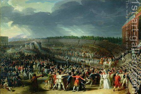 The Celebration of the Federation, Champs de Mars, Paris, 14 July 1790 by Charles Thevenin - Reproduction Oil Painting
