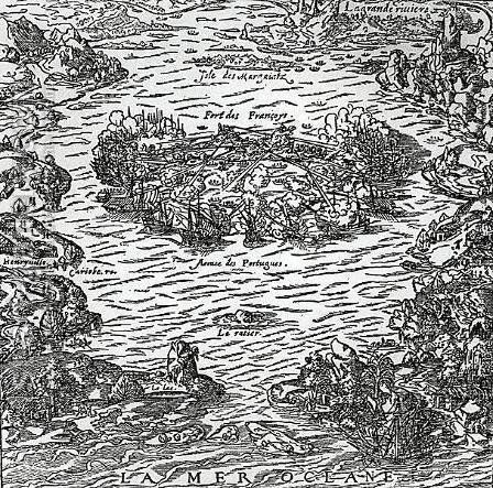 The capture of the Fort of Villegagnon from La Cosmographie universelle by Andre Thevet, c.1560 by Andre Thevet - Reproduction Oil Painting
