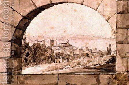 View of the Town and Lake of Bracciano, c.1810 by Jean Thomas Thibault - Reproduction Oil Painting
