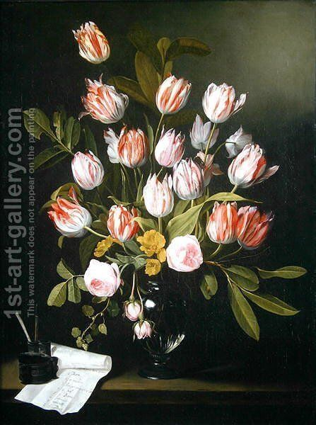 Tulips, yellow and pink roses in a glass vase by Jan Philip van Thielen - Reproduction Oil Painting