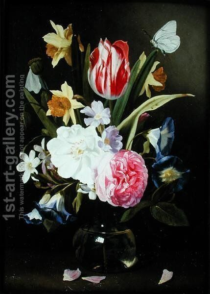 Still Life with Flowers in a Glass Vase 2 by Jan Philip van Thielen - Reproduction Oil Painting