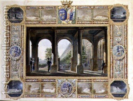 The Palais Royal, Paris, surrounded by vignettes of the childhood residences of Charles Ferdinand, the Duke de Berry 1778-1820 and his wife Maria Caroline of Bourbon by Hilaire Thierry - Reproduction Oil Painting