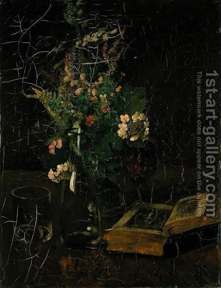 Still Life with a Bunch of Flowers and a Bible, 1872 by Hans Thoma - Reproduction Oil Painting