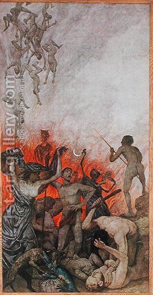 Hell, illustration from Festkalender published in Leipzig c.1910 by Hans Thoma - Reproduction Oil Painting