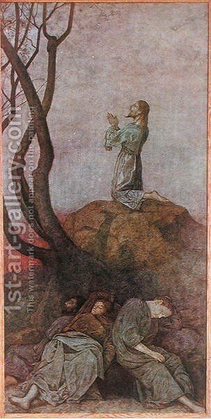 The Agony in the Garden, illustration from Festkalender published in Leipzig c.1910 by Hans Thoma - Reproduction Oil Painting
