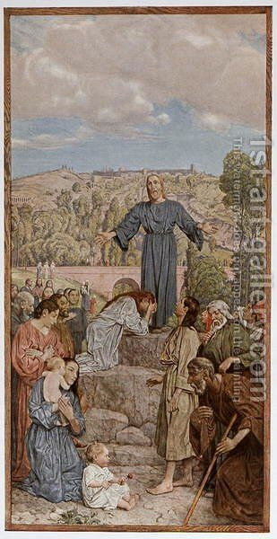 Christ preaching, illustration from Festkalender published in Leipzig c.1910 by Hans Thoma - Reproduction Oil Painting