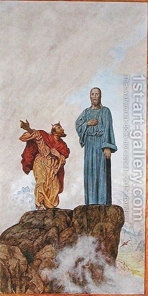 The Temptation of Christ, illustration from Festkalender published in Leipzig c.1910 by Hans Thoma - Reproduction Oil Painting