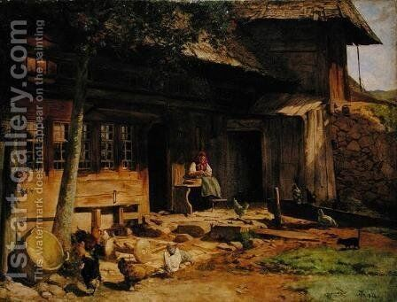 The Parental Home in Bernau, 1866 by Hans Thoma - Reproduction Oil Painting
