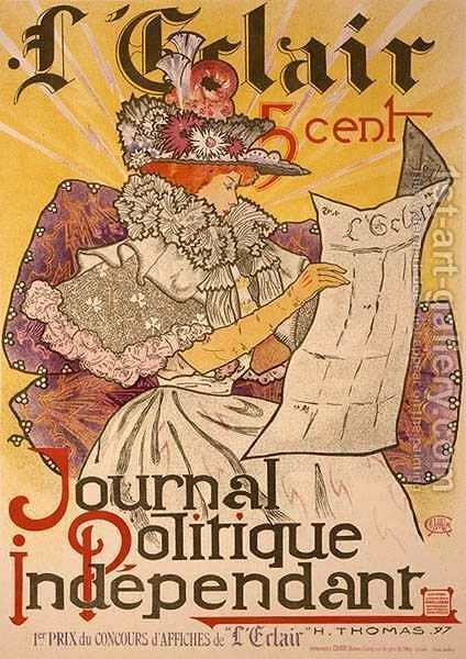 R LEclair, an independent political newspaper, 1897 by Henri Thomas - Reproduction Oil Painting