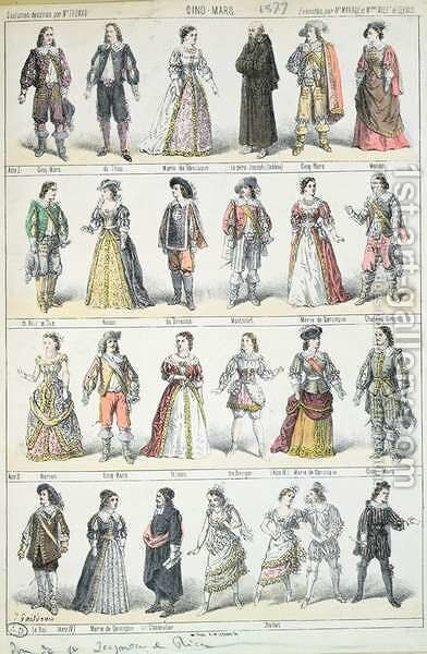 Costume Designs for the Play Cinq-Mars by Alfred de Vigny 1791-1863, 1877 by Mr Thomas - Reproduction Oil Painting