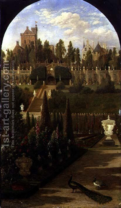 Drummond Castle, Perthshire, seen from the Gardens, 1847 by Jacob Thompson - Reproduction Oil Painting