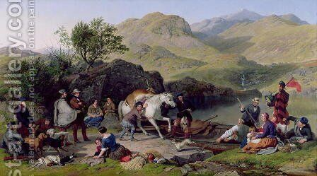 Crossing a Highland Loch, 1858 by Jacob Thompson - Reproduction Oil Painting