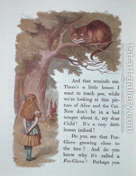 Alice and the Cheshire Cat, illustration from Alice in Wonderland, published in London, 1889 by Emily Gertrude Thomson - Reproduction Oil Painting