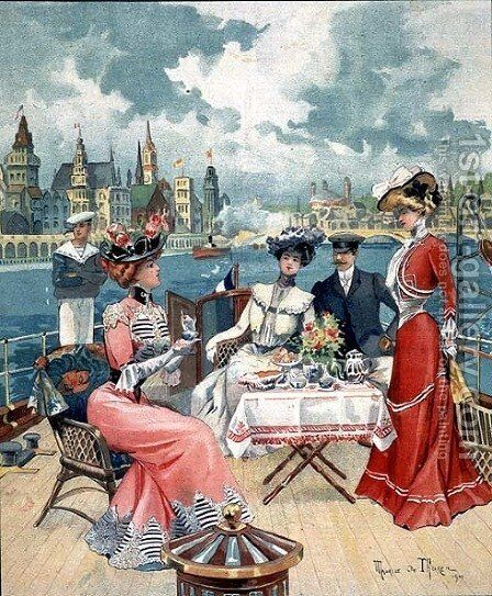 Tea on the Seine, from LIllustre Soleil du Dimanche, 26th August 1900 by Maurice de Thoren - Reproduction Oil Painting