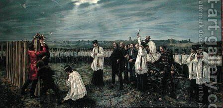 Execution of Hungarian Officers by the Austrians at Arad, Hungary on 6th October 1849, 1893 by Janos Thorma - Reproduction Oil Painting