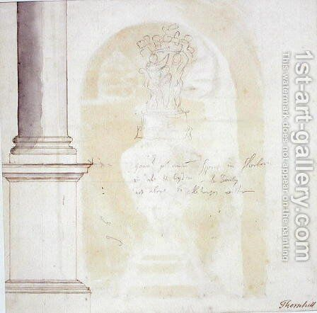 Sketch of a pillar and statue by Sir James Thornhill - Reproduction Oil Painting