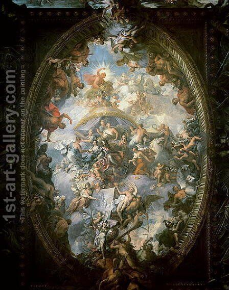 Ceiling of the Painted Hall, 1707-14 by Sir James Thornhill - Reproduction Oil Painting