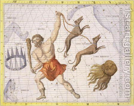 Constellation of Bootes, plate 20 from Atlas Coelestis, by John Flamsteed 1646-1710, published in 1729 by Sir James Thornhill - Reproduction Oil Painting