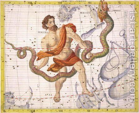 Constellation of Ophiucus and Serpens, plate 22 from Atlas Coelestis, by John Flamsteed 1646-1710, published in 1729 by Sir James Thornhill - Reproduction Oil Painting