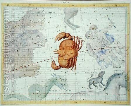 Constellation of Cancer, plate 4 from Atlas Coelestis, by John Flamsteed 1646-1710, published in 1729 by Sir James Thornhill - Reproduction Oil Painting
