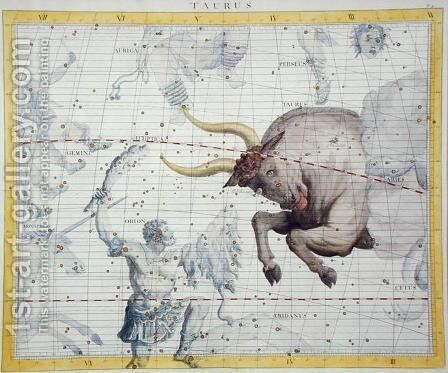 Constellation of Taurus, plate 2 from Atlas Coelestis, by John Flamsteed (1646-1710), published in 1729 by Sir James Thornhill - Reproduction Oil Painting
