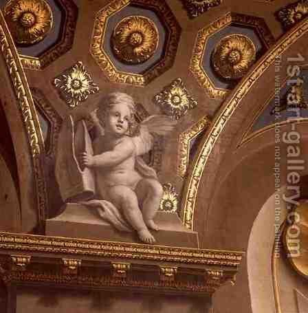 A putto on the Chapel wall by Sir James Thornhill - Reproduction Oil Painting