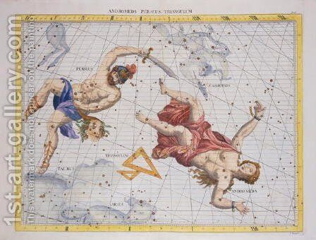 Constellation of Perseus and Andromeda, from Atlas Coelestis, by John Flamsteed 1646-1719, pub. in 1729 by Sir James Thornhill - Reproduction Oil Painting