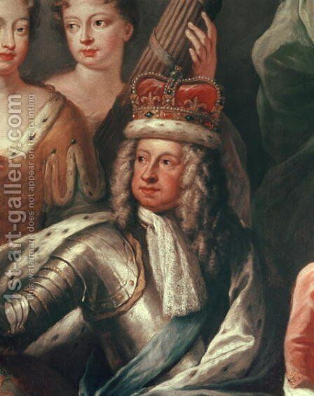 Detail of George I from the Painted Hall, Greenwich by Sir James Thornhill - Reproduction Oil Painting