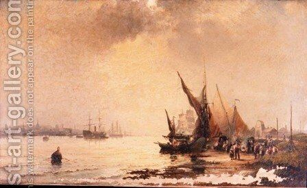 Fisherfolk on the Shore in a Calm Estuary Scene at Daybreak by Hubert Thornley - Reproduction Oil Painting