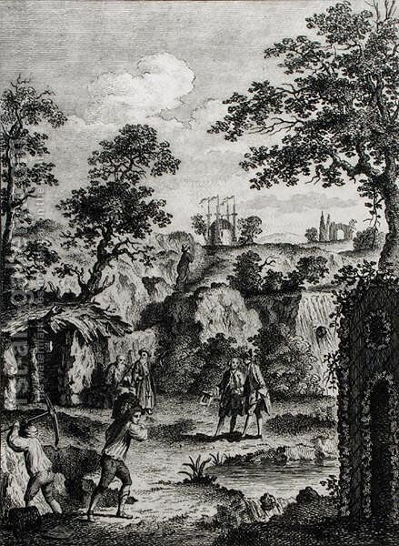 Frontispiece for Grotesque Architecture, or Rural Amusement, by William Wrighte, published 1768 by (after) Thornthwaite, A. - Reproduction Oil Painting