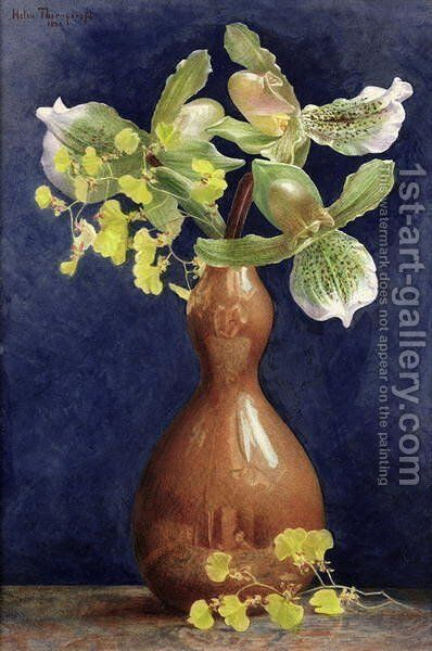 Orchids in a Copper Vase, 1881 by Helen Thornycroft - Reproduction Oil Painting