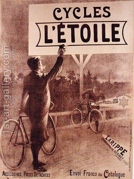 Poster advertising cycles LEtoile, 1903 by Charles Tichon - Reproduction Oil Painting