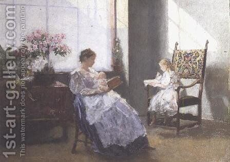 Mrs Masarai and her Daughter, 1896 by Hans Tichy - Reproduction Oil Painting