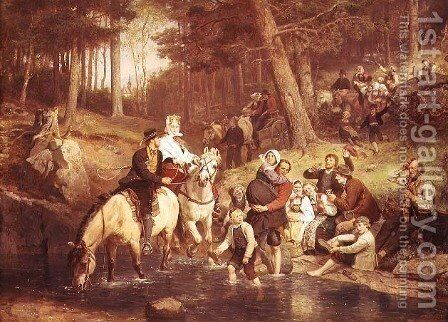 The water crossing by Adolph Tidemand - Reproduction Oil Painting