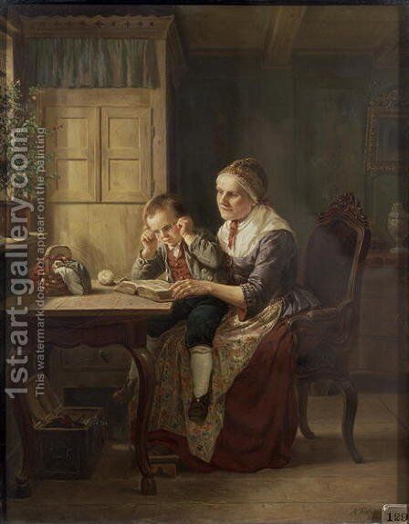 Grannys Darling, 1861 by Adolph Tidemand - Reproduction Oil Painting