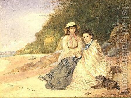 Mother and Daughter with Dog by Alfred Tidey - Reproduction Oil Painting