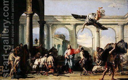 Jesus Healing the Paralytic at the Pool of Bethesda, c.1759 by Giovanni Domenico Tiepolo - Reproduction Oil Painting